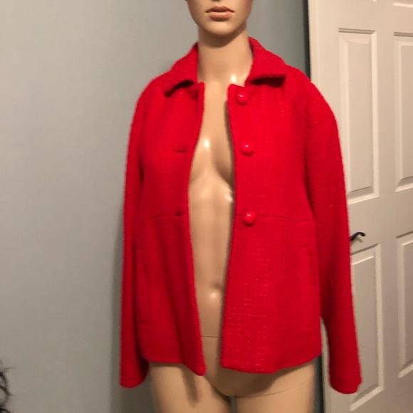 Rafaella Jackets & Blazers - Tweed career blazer red Sz 8. Worn once.